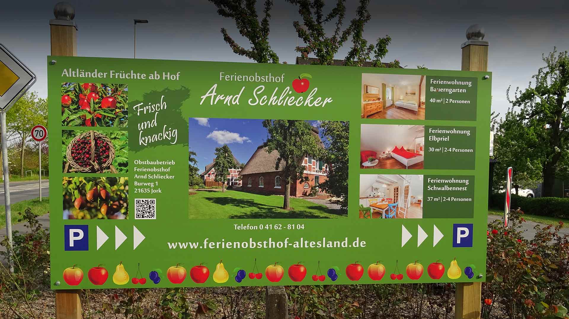 Werbeschild Ferienobsthof Altes Land in Jork